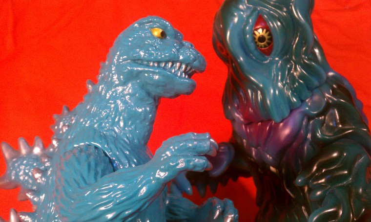Marmit Monster Heaven Godzilla 1968 battles the excellently crafted MMH Final Form Hedorah, both from the collection of Jon @ UnCanny.
