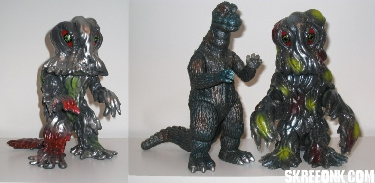 Marmit Monster Heaven Land Hedorah (2006,right) and Marmit Double Cast Hedorah and Godzilla '71 (right), from the collection of Mike 'Legion' Russo.