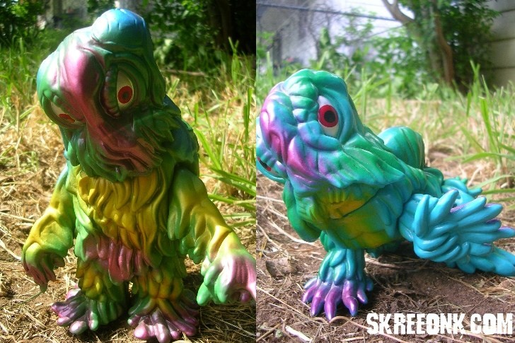 To the left is the Final Form Marmit Parababy Hedorah. To the right, a Crawling Form Marmit Parababy. Both were released in 2003, and are from the collection of Adam Bacon.