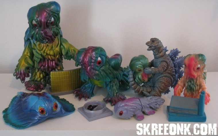 The entire line of Marmit Para-Babies Hedorahs, from the collection of Mike 'Legion' Russo.