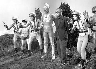 Special Effects Pioneer Eiji Tsuburaya with some of his timeless creations. Tsuburaya is the genius behind the creation and endless creativity of the Ultraman Universe.
