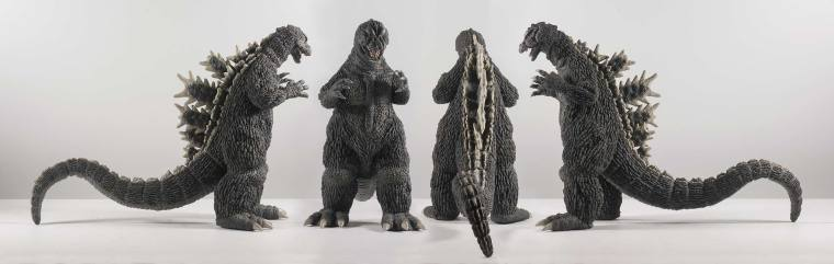 All four angles of the Godzilla 1964 Vinyl by X-Plus. Photo by John Stanowski.