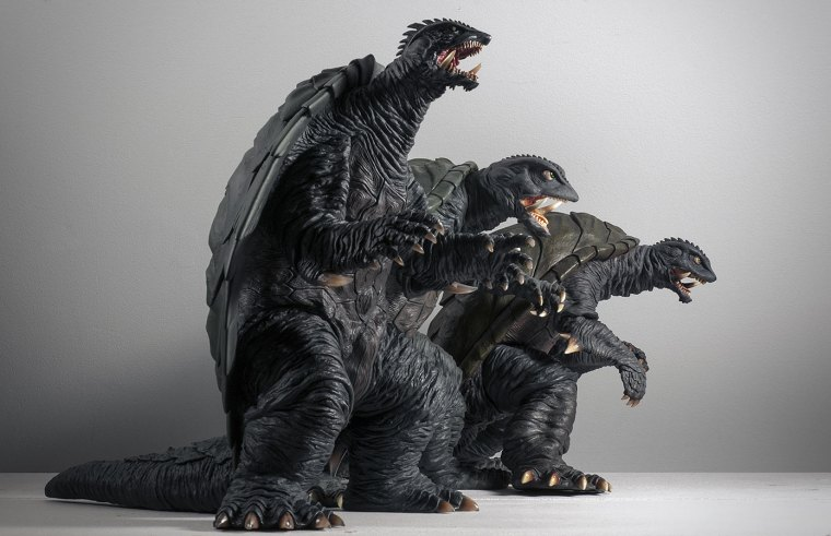 X-Plus Gamera 1999, 1995 and 1996. Photo by John Stanowski / Kaiju Addicts.