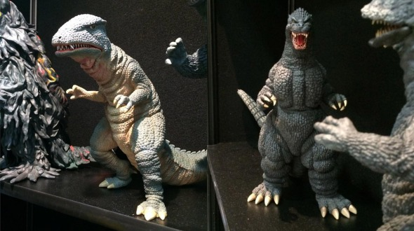 X-Plus Toho 12inch Series Gorosaurus and Godzilla 1989 vinyl figures on display at SDCC.